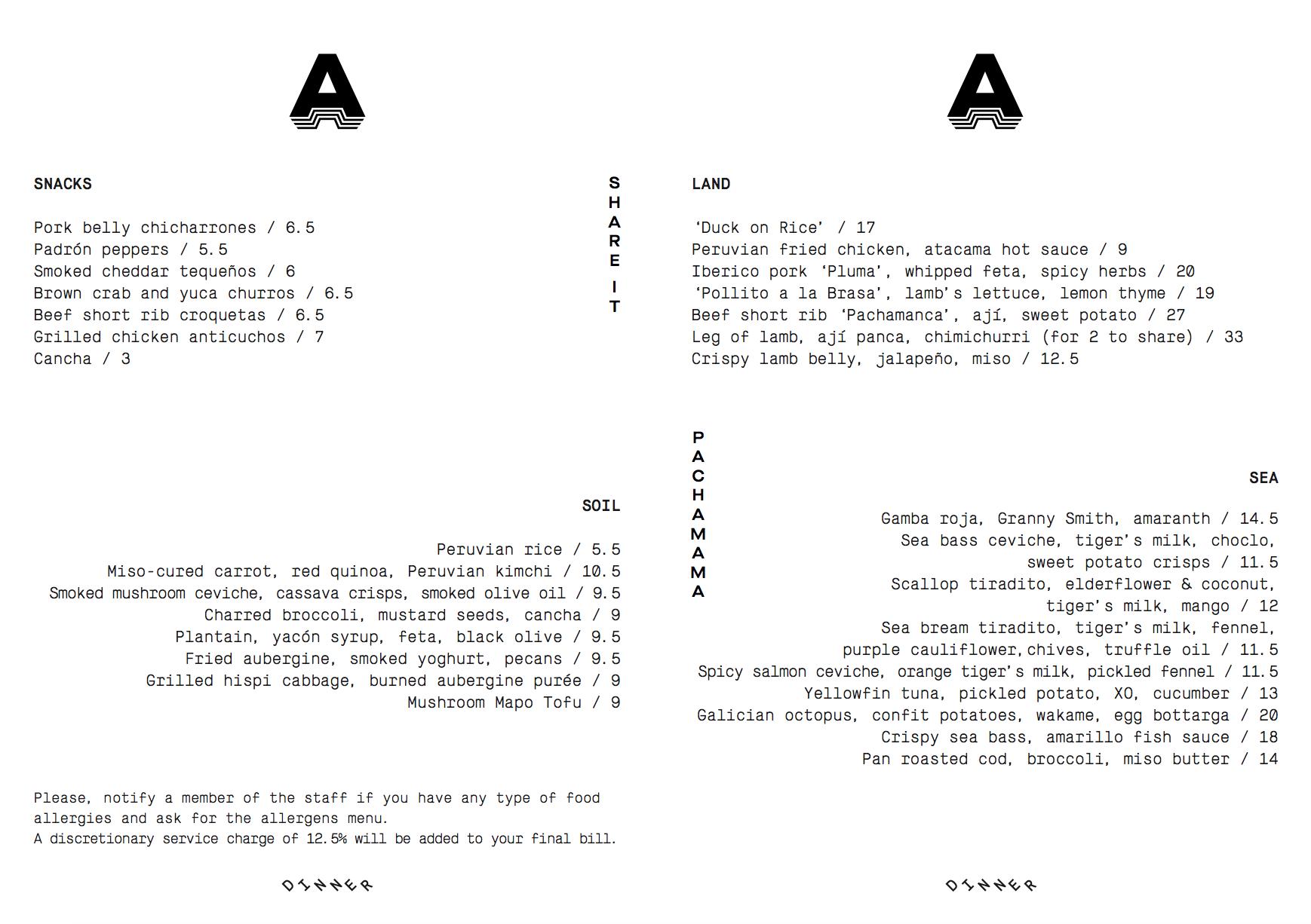 Pachamama Marylebone sample menu