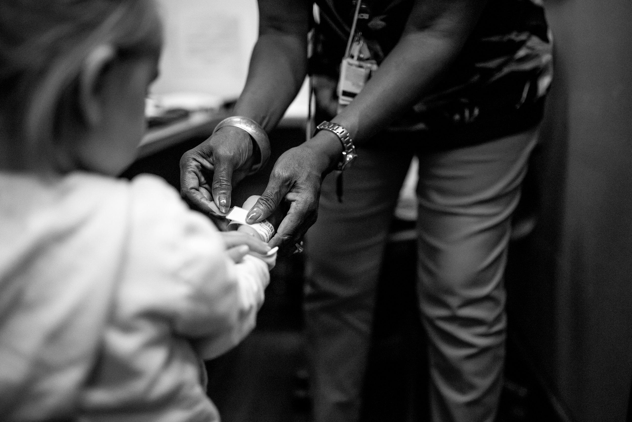 Girl identification bracelet heart procedure children's hospital