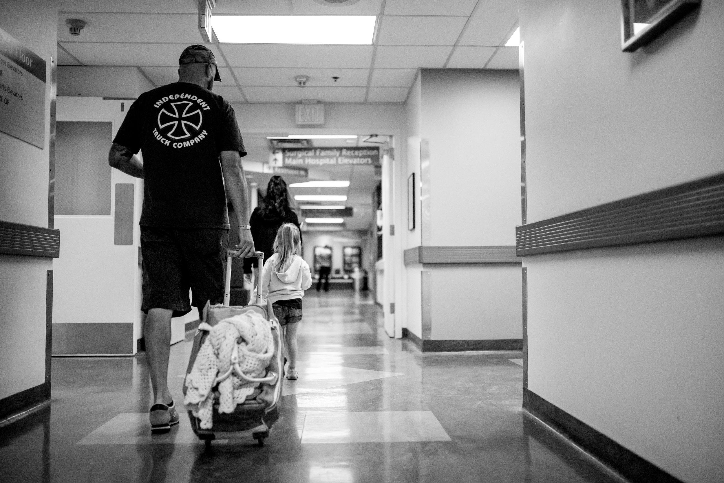 Walking to surgery prep children's hospital