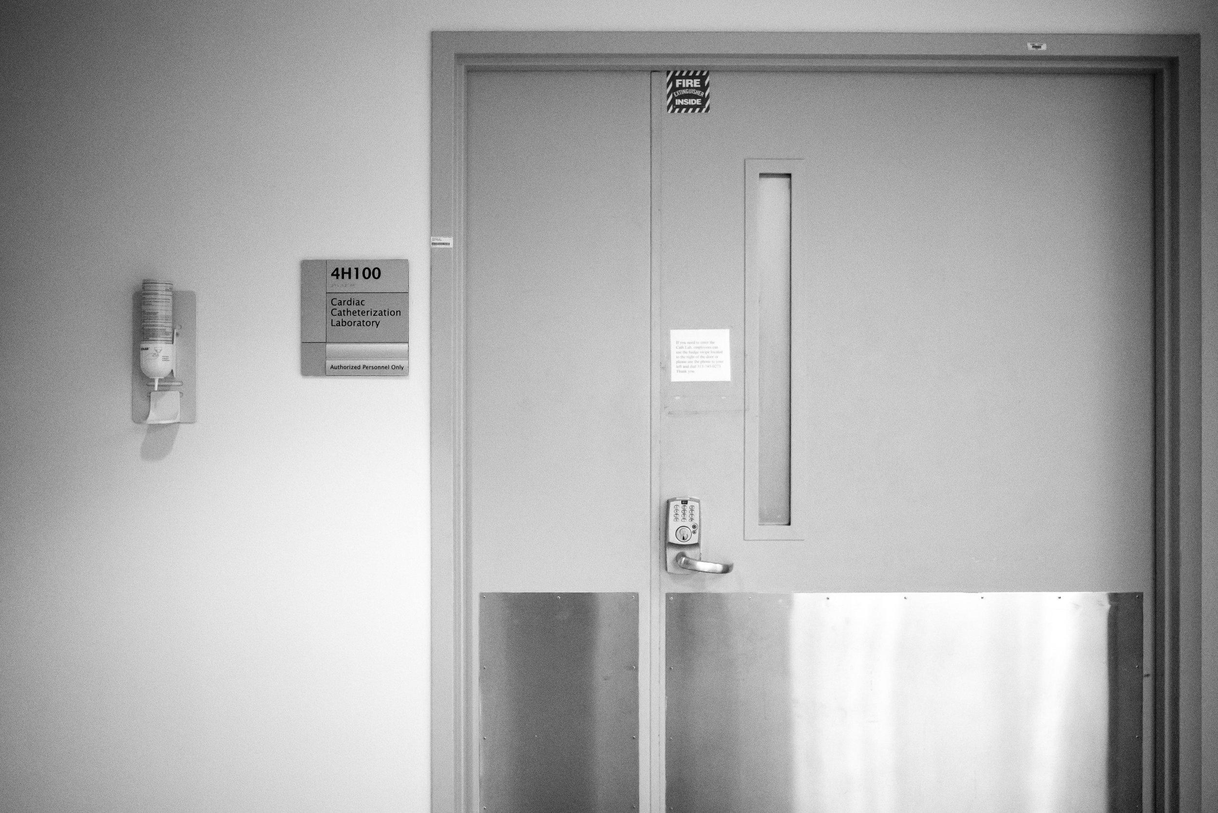 Cath lab entrance at children's hospital