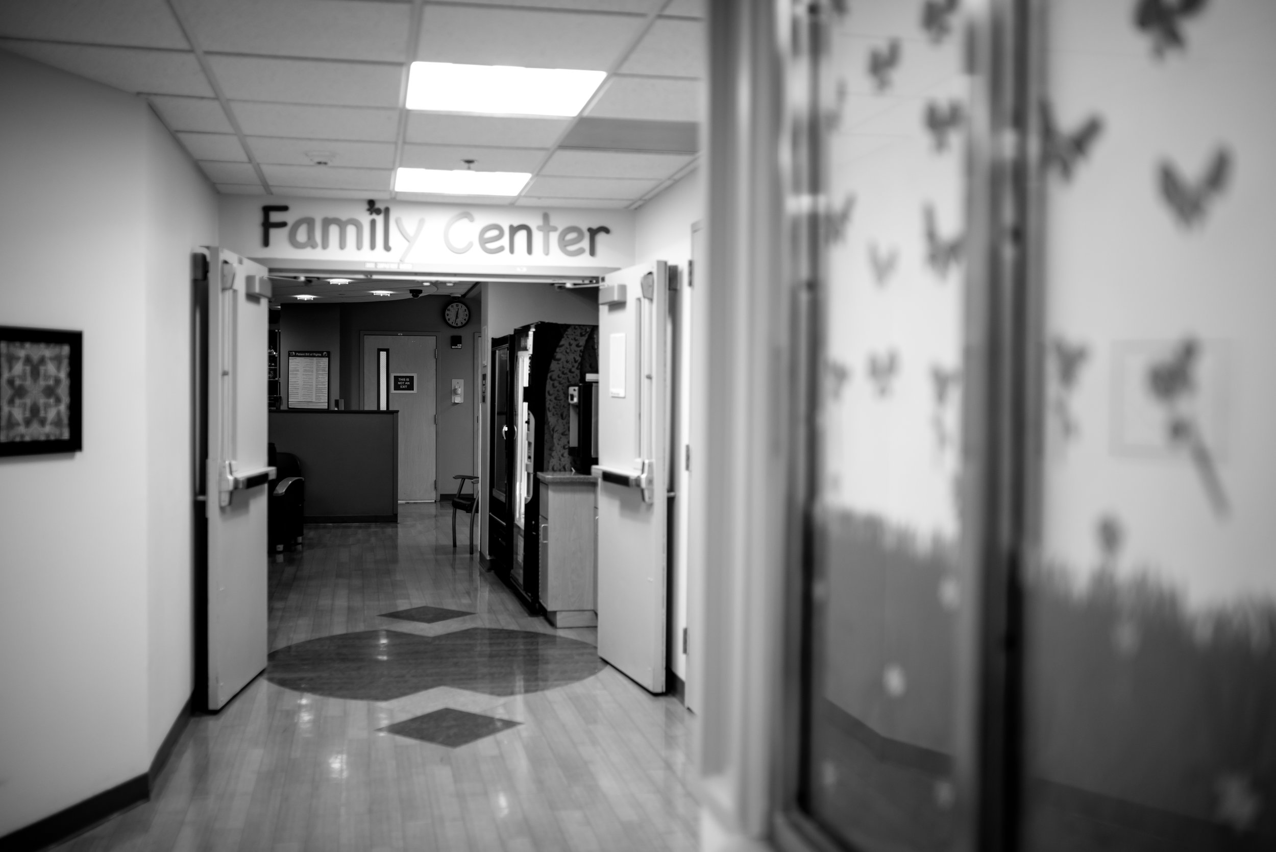 Walking to family waiting area at children's hospital