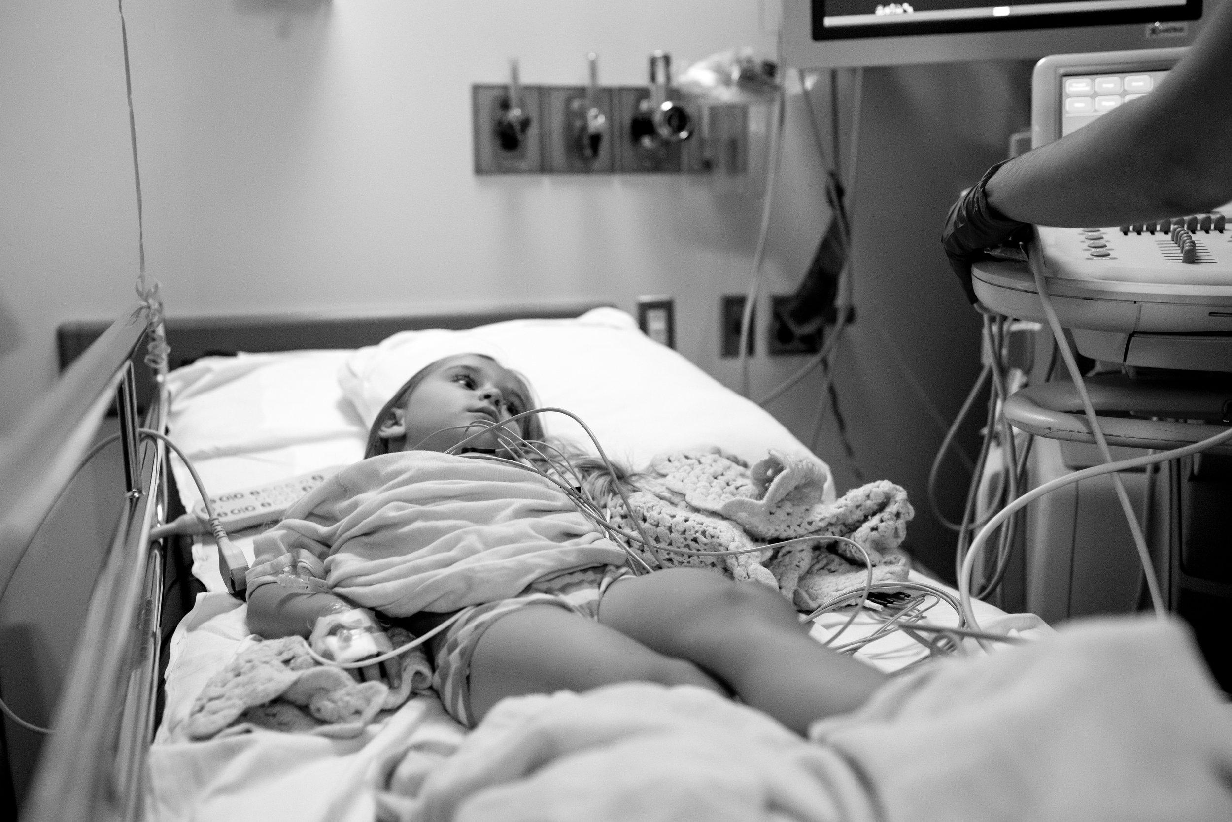 Girl has echocardiogram after PDA correction procedure