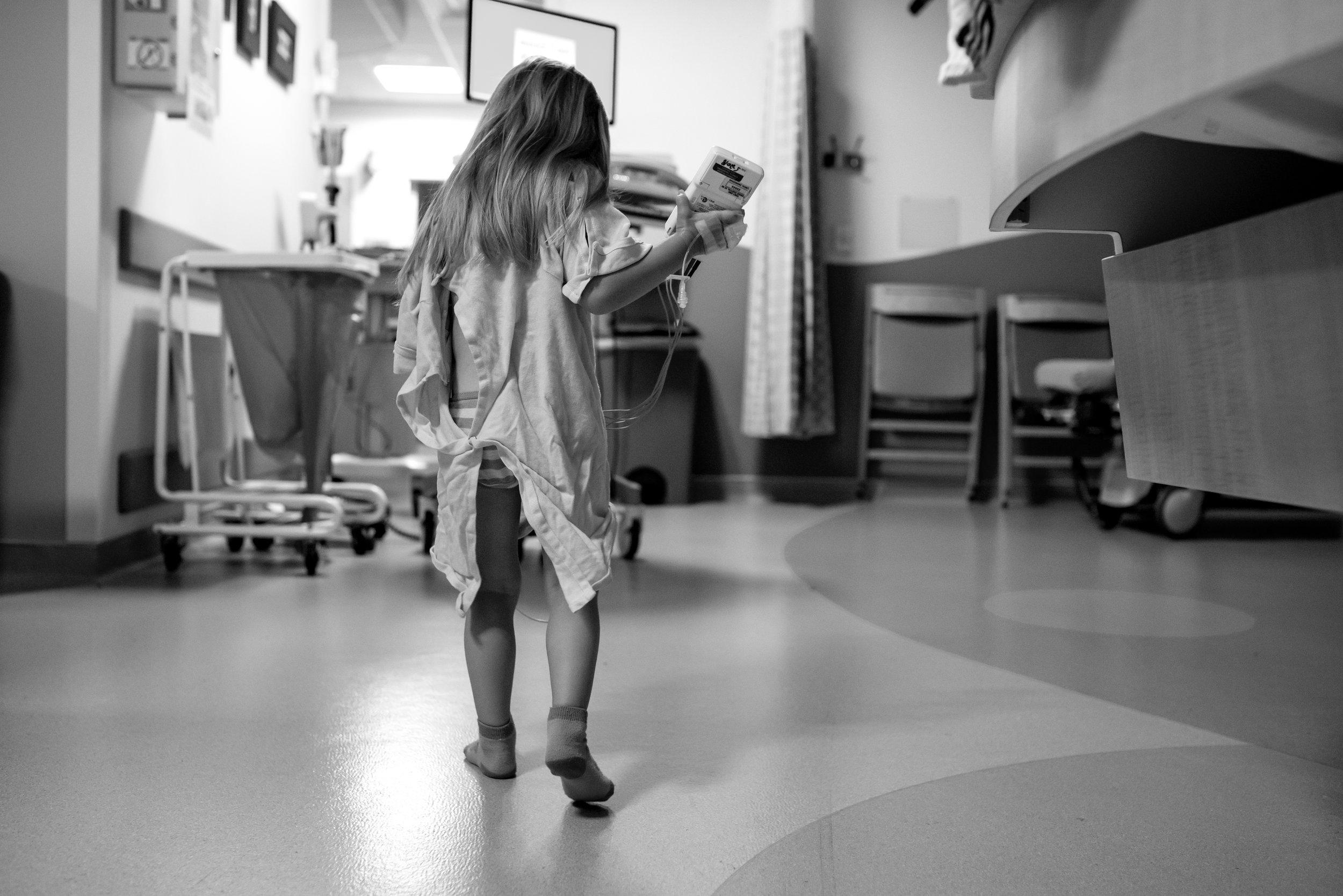 Girl walks in observation unit after PDA repair procedure