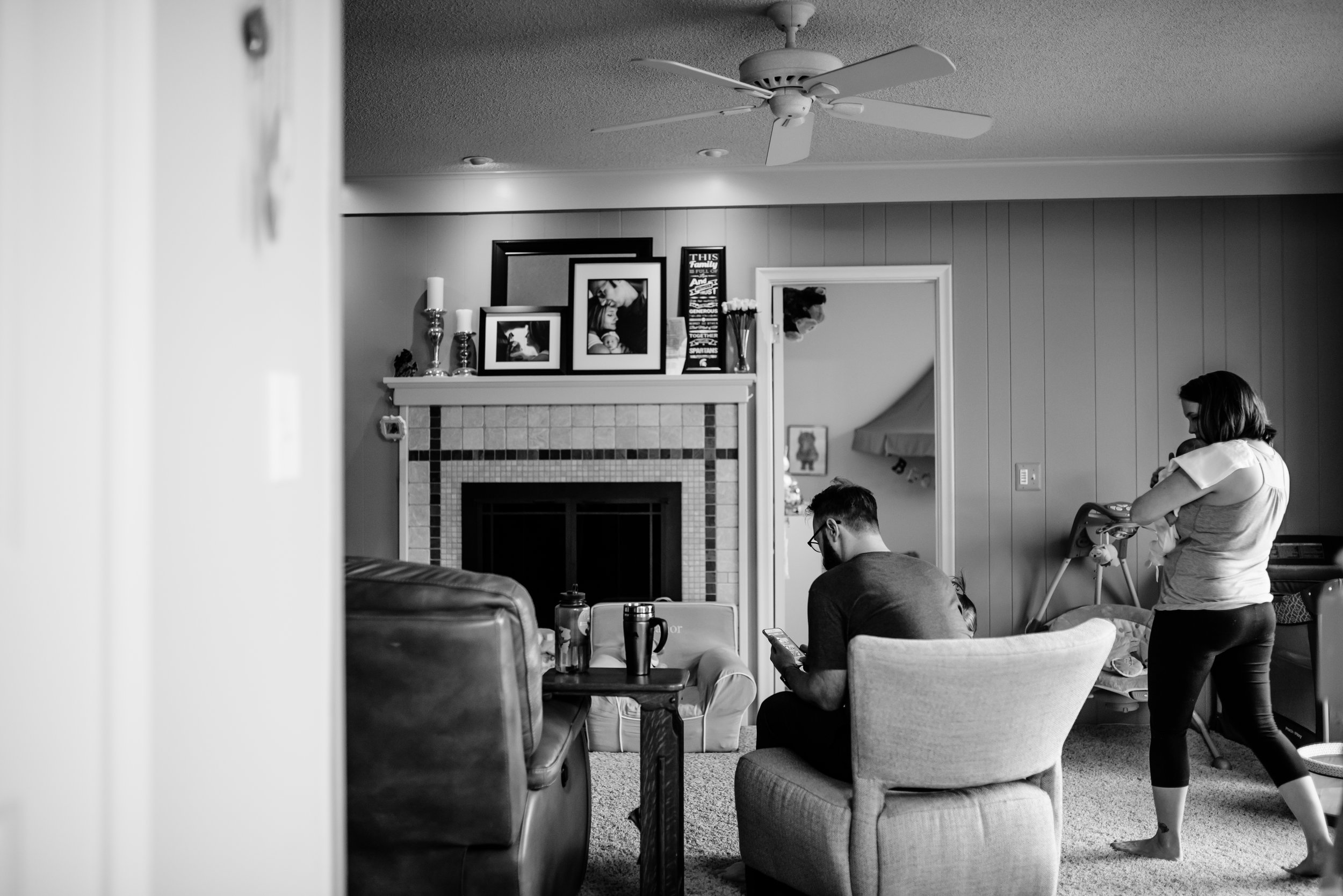 Family gathers in family room
