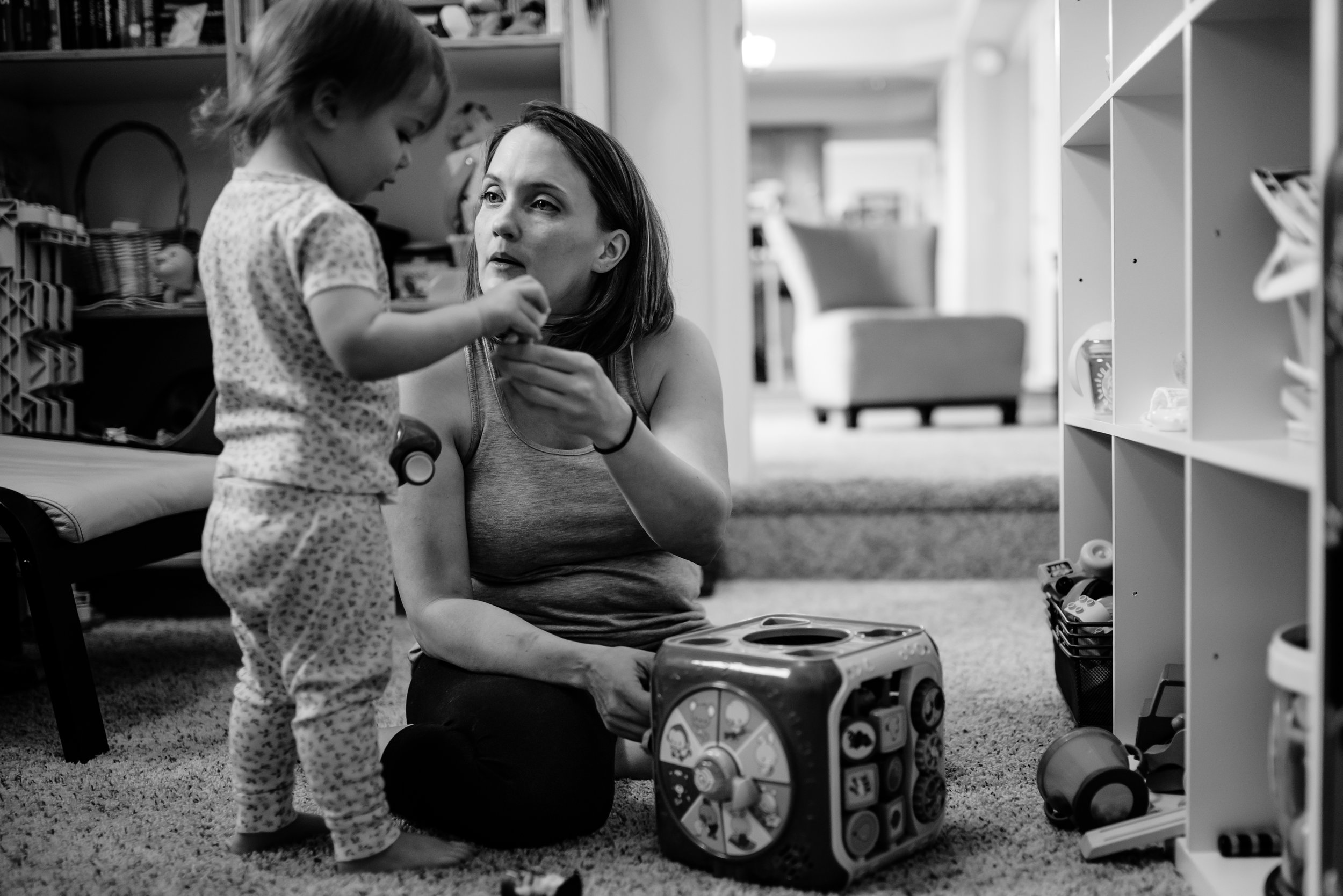 Mom and daughter play