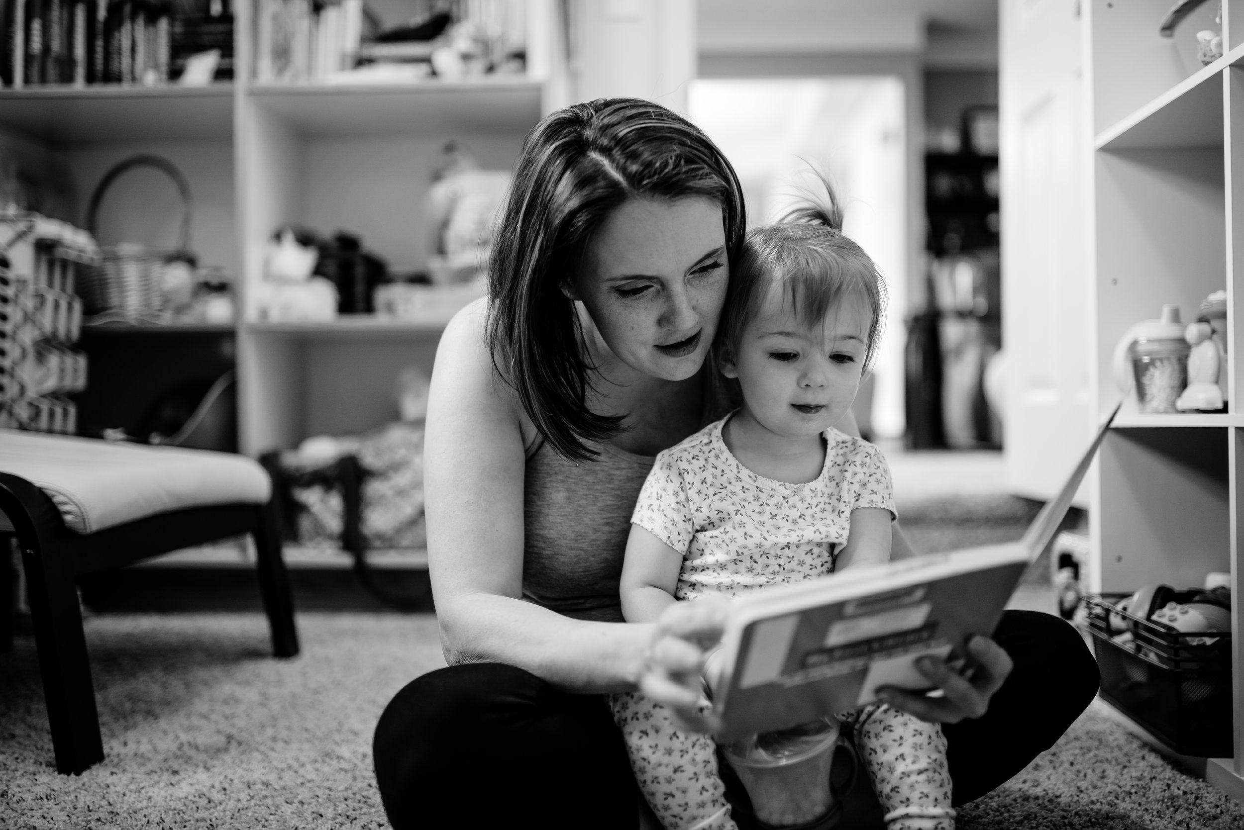 Mom and daughter read