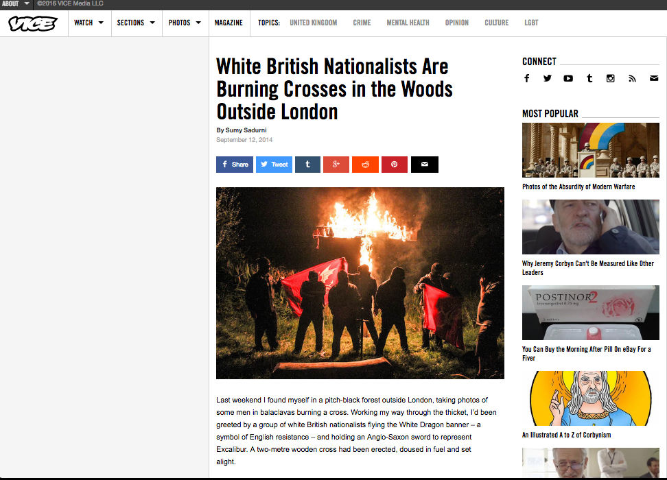 White British Nationalists are burning crosses in the woods outside London // VICE 2014