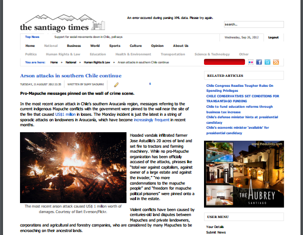 Arson Attacks in southern Chile continue // The Santiago Times 2012