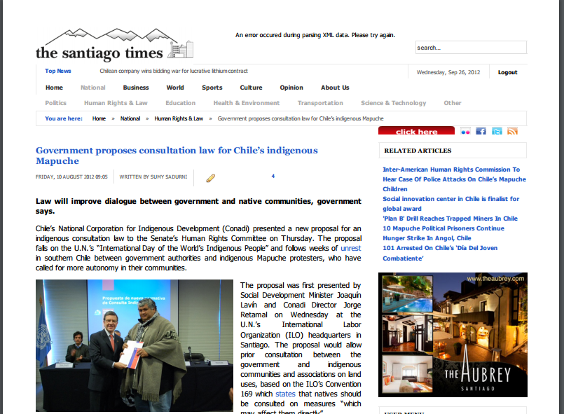 Government proposes consultation law for Chile's Mapuche // The Santiago Times 2012