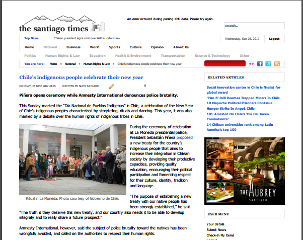 Chile's Indigenous people celebrate the new year // The Santiago Times 2012