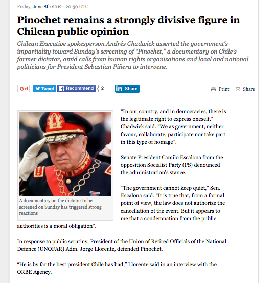 Pinochet remains a strongly decisive figure in Chilean public opinion // The Santiago Times 2012