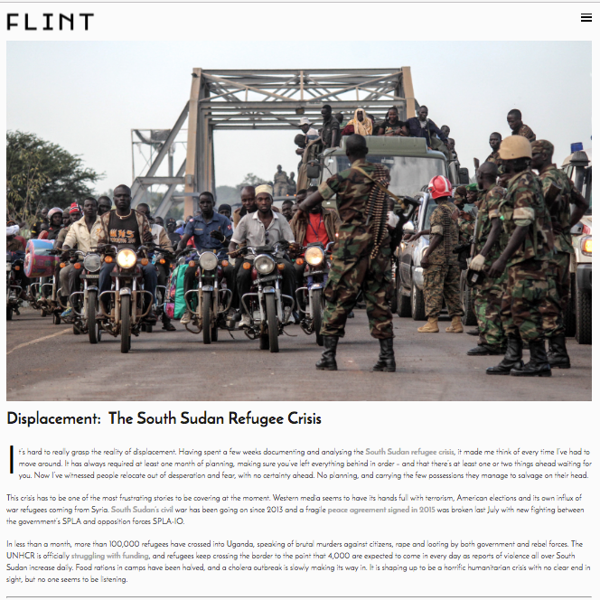 Displacement: The South Sudan Refugee Crisis // FLINT Magazine 2016