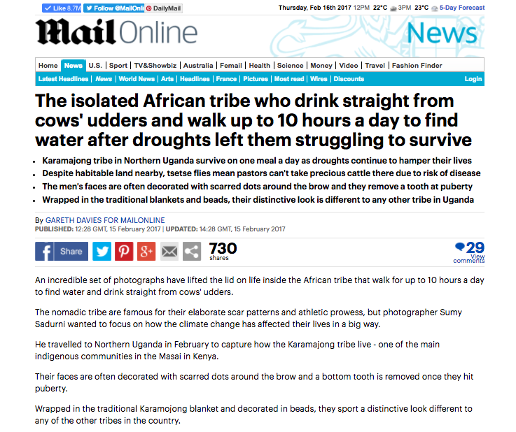 East Africa's Lost Tribe: The Karamojong // Daily Mail 02.2017