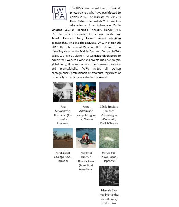 International Women Photographer Awards - Profile //2017