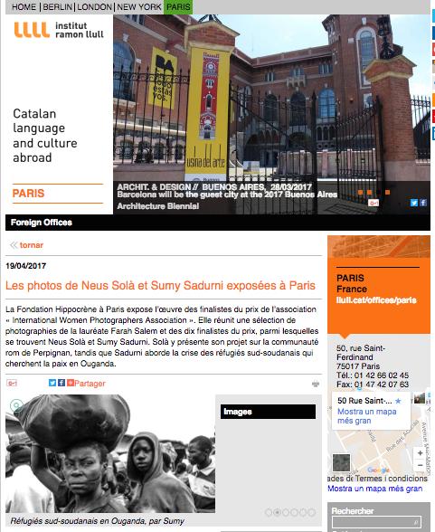 Les photos de Neus Sola et Sumy Sadurni exposes a Paris// Institut Ramon Lull 2017