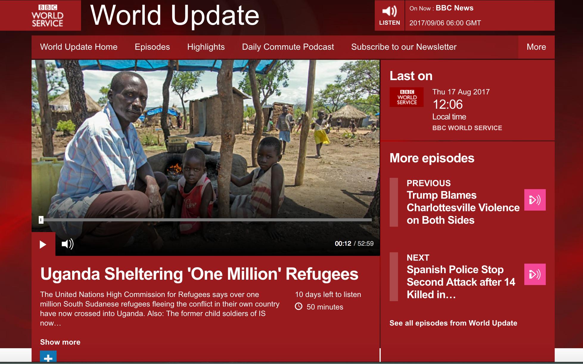 Uganda sheltering one million refugees // BBC World Service August 2017