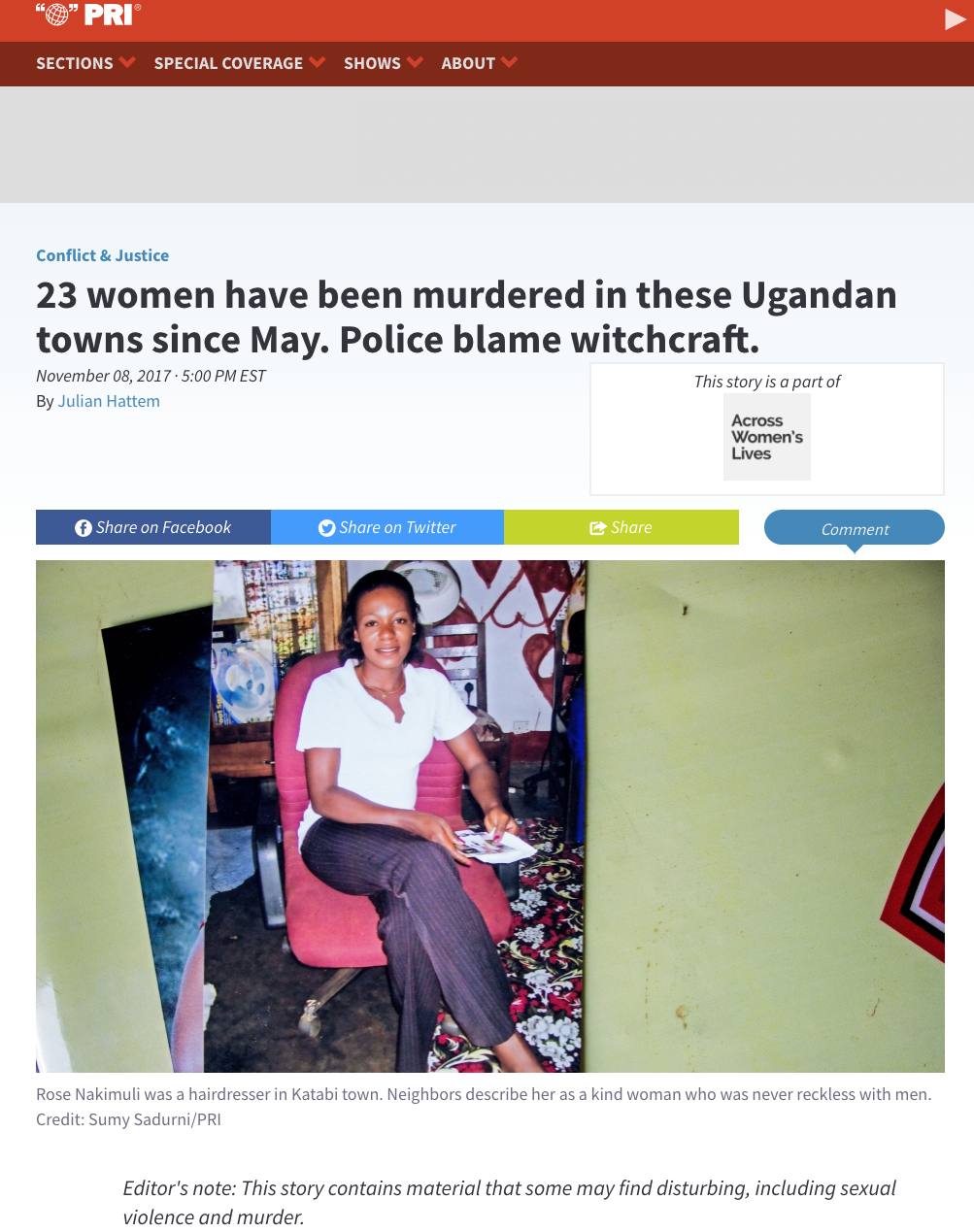 23 women have been murdered in these Ugandan towns since May // Public Radio International 11.2017