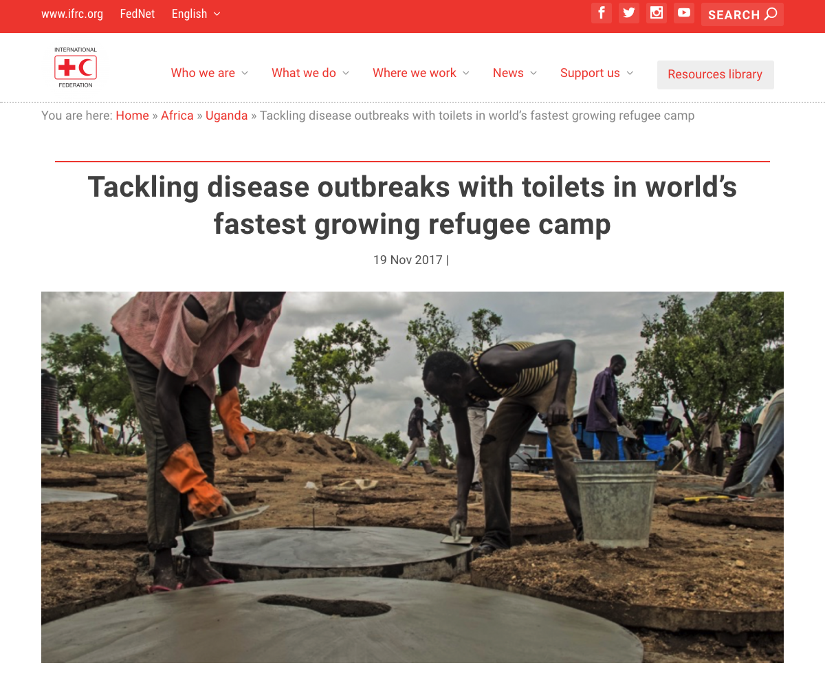 Tackling disease outbreaks with toilets in world's fastest growing refugee camp// IFRC 11/2017