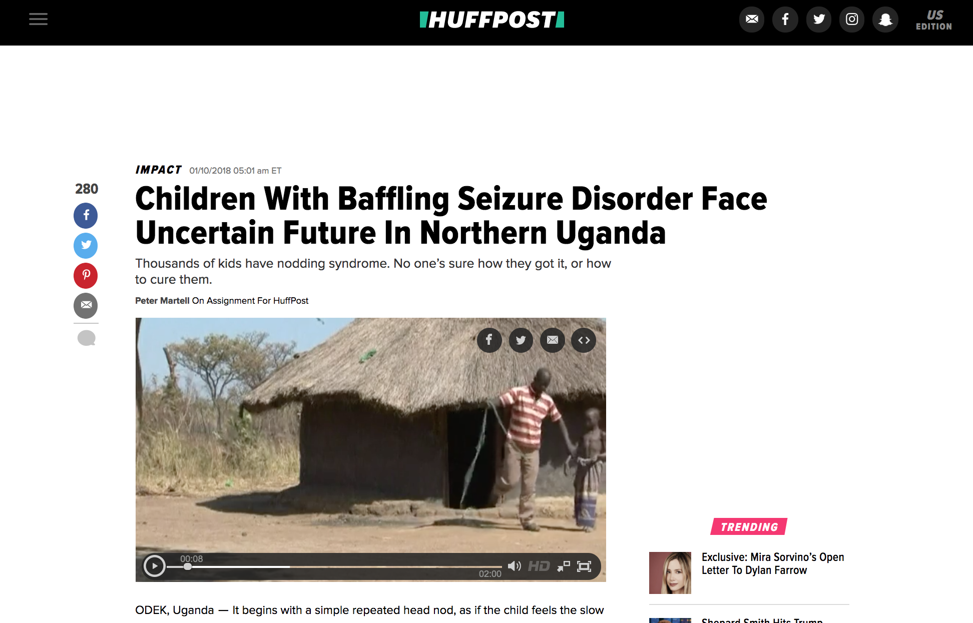 Nodding syndrome in Uganda // Huffington Post 01.2018