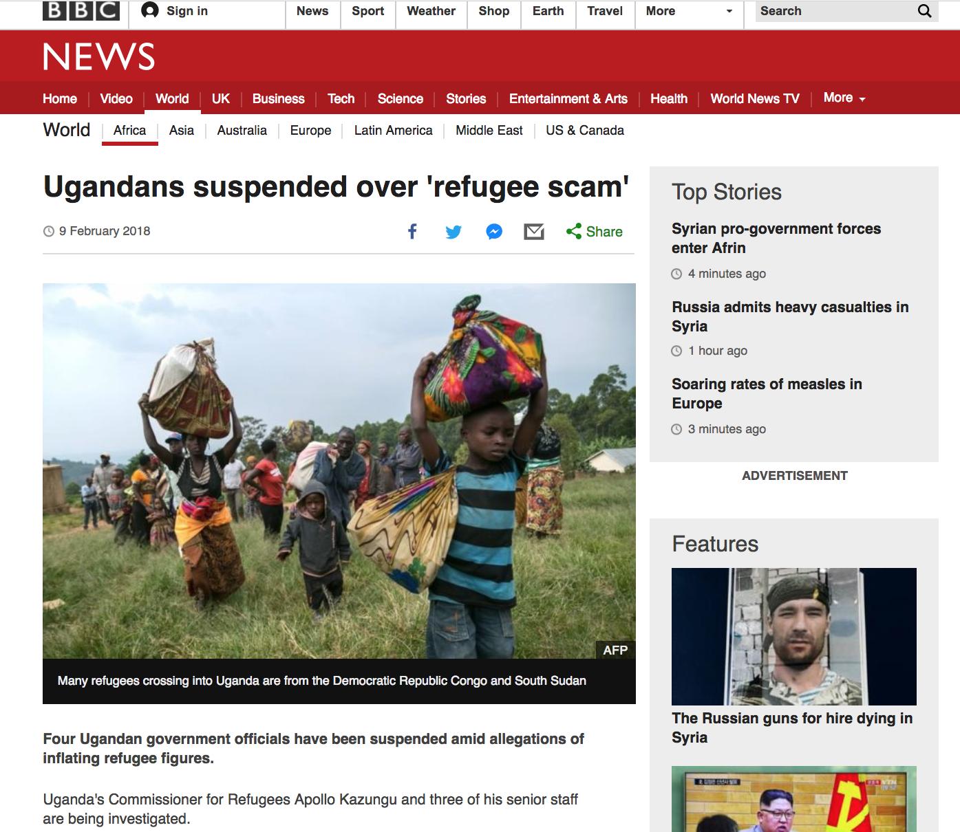 Ugandans suspended over 'refugee scam' // BBC // 02.2018