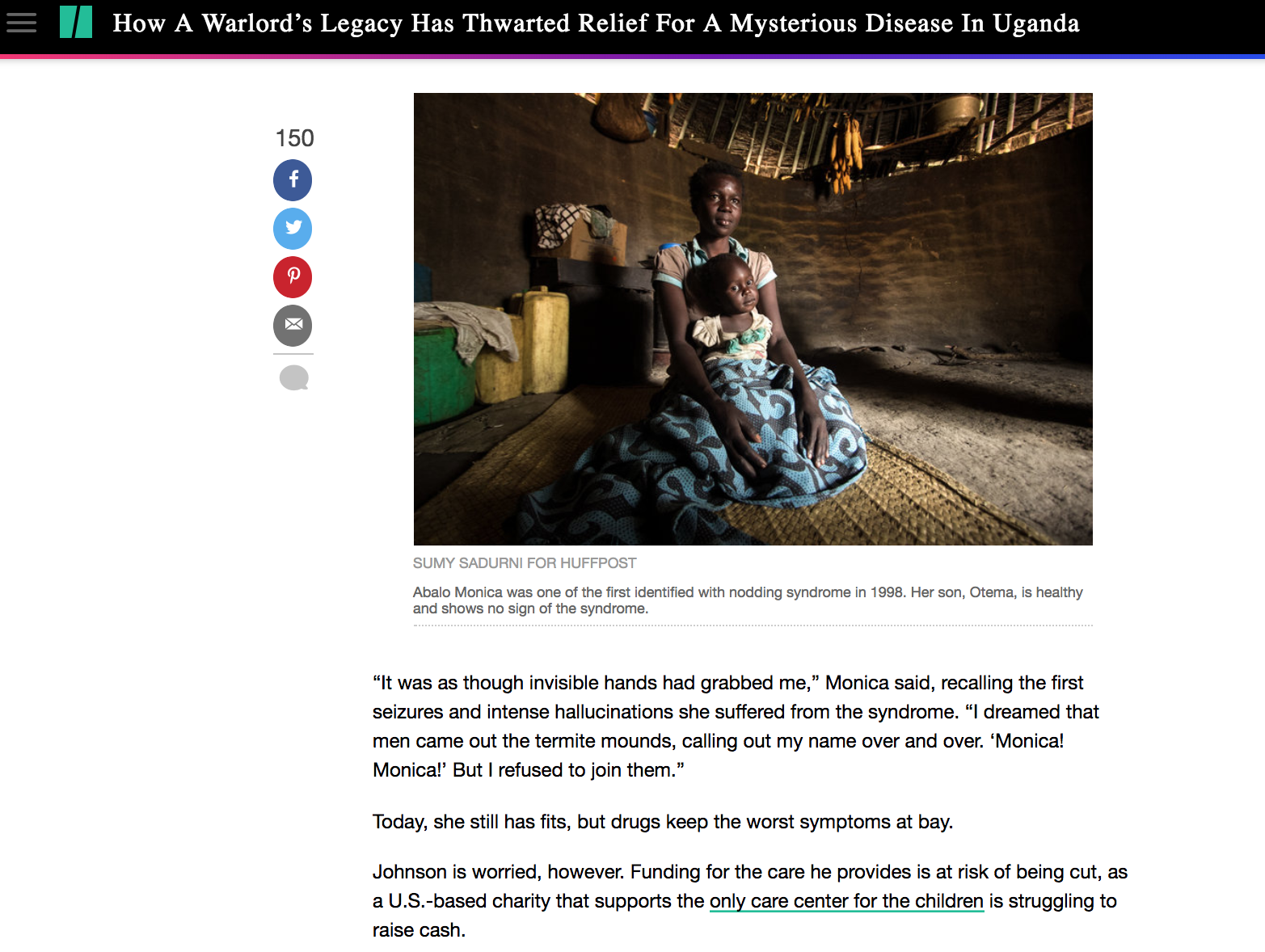 How a warlords legacy has thwarted relief for a mysterious disease in Uganda // Huffington Post 2.2018