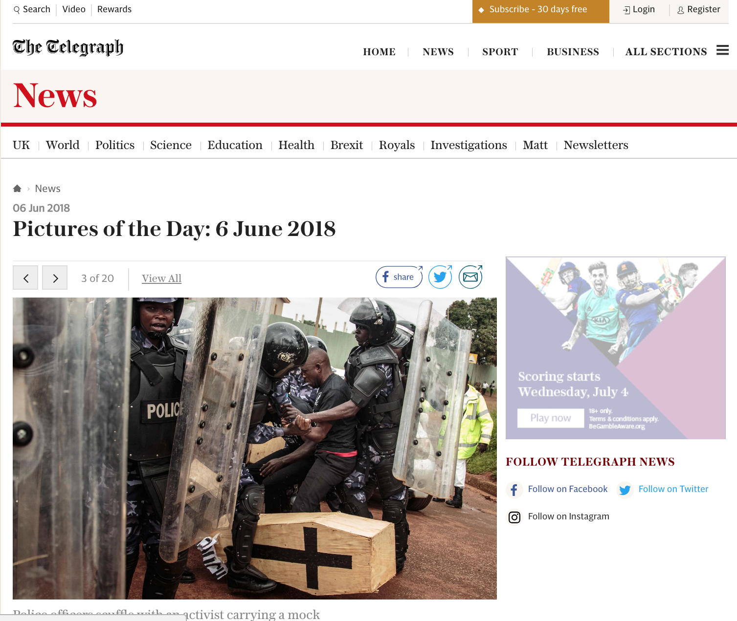 Police scuffle with activists carrying mock coffins in Kampala // The Telegraph // 06.2018
