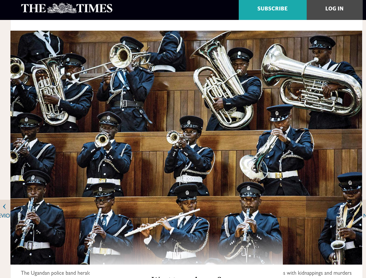 The Ugandan Police band welcome President Museveni as he addresses Parliament on security // The Times // 06.2018