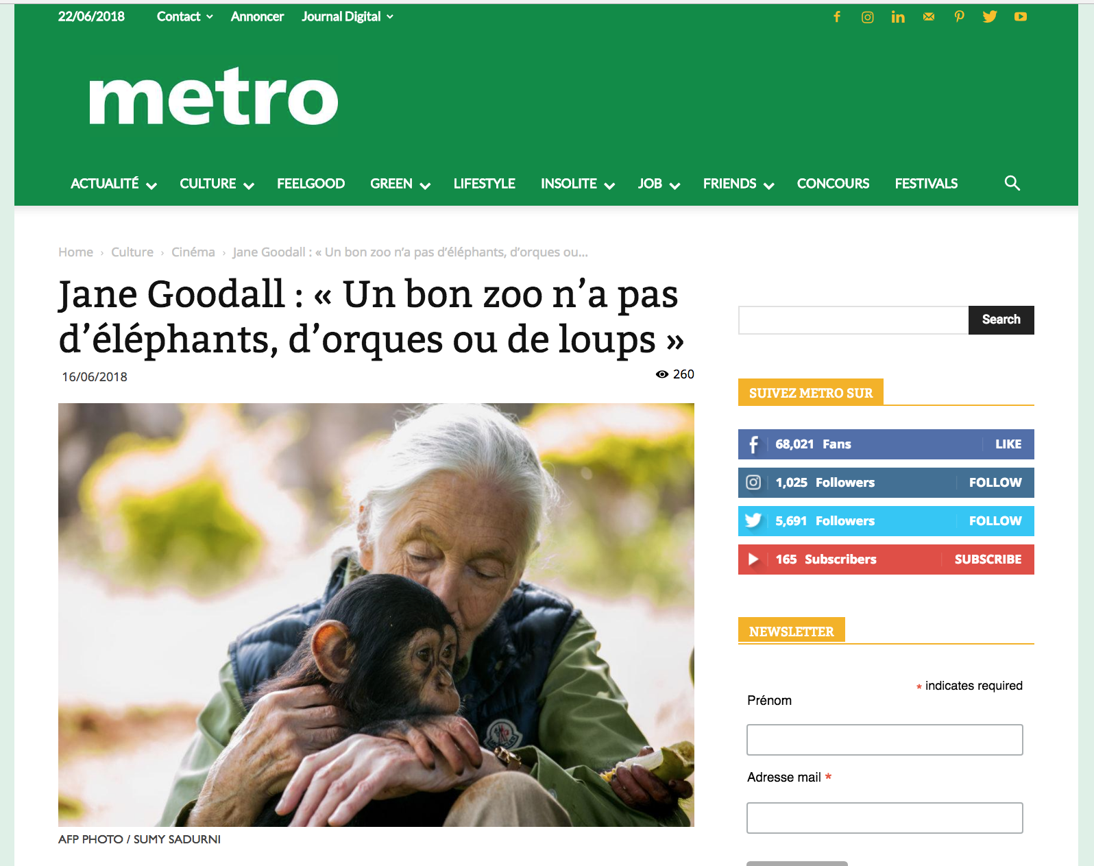 Jane Goodall: A good zoo doesn't have elephants, orcas or wolves // Metro // 06.2018