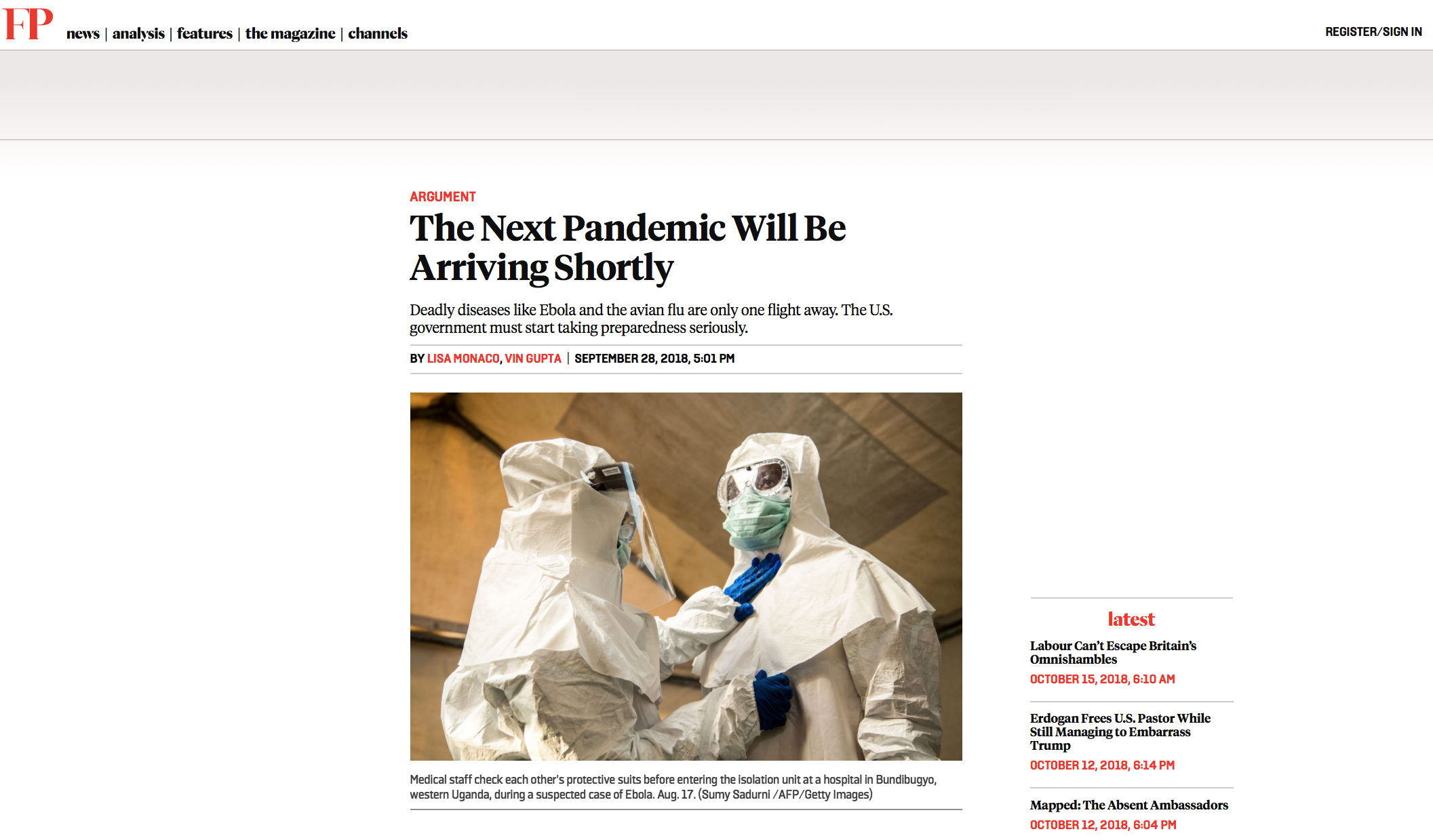 The next pandemic will be arriving shortly // Foreign Policy // 10.2018