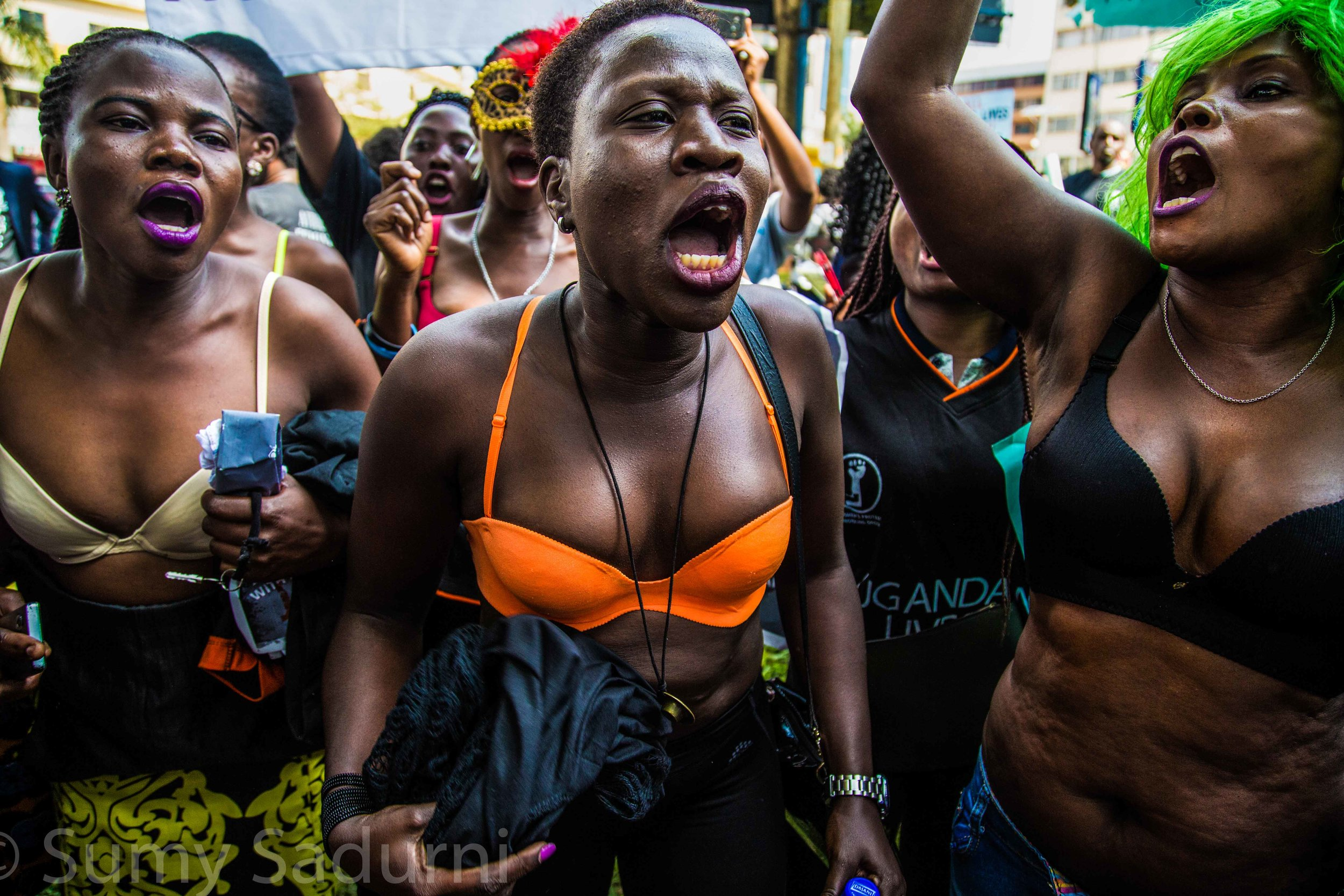 Print 11: Sex workers in Kampala defying police law as they take their tops off to protest against the lack of action taken by the government to protect women, as dozens of women were murdered in cold blood in Wakiso district.