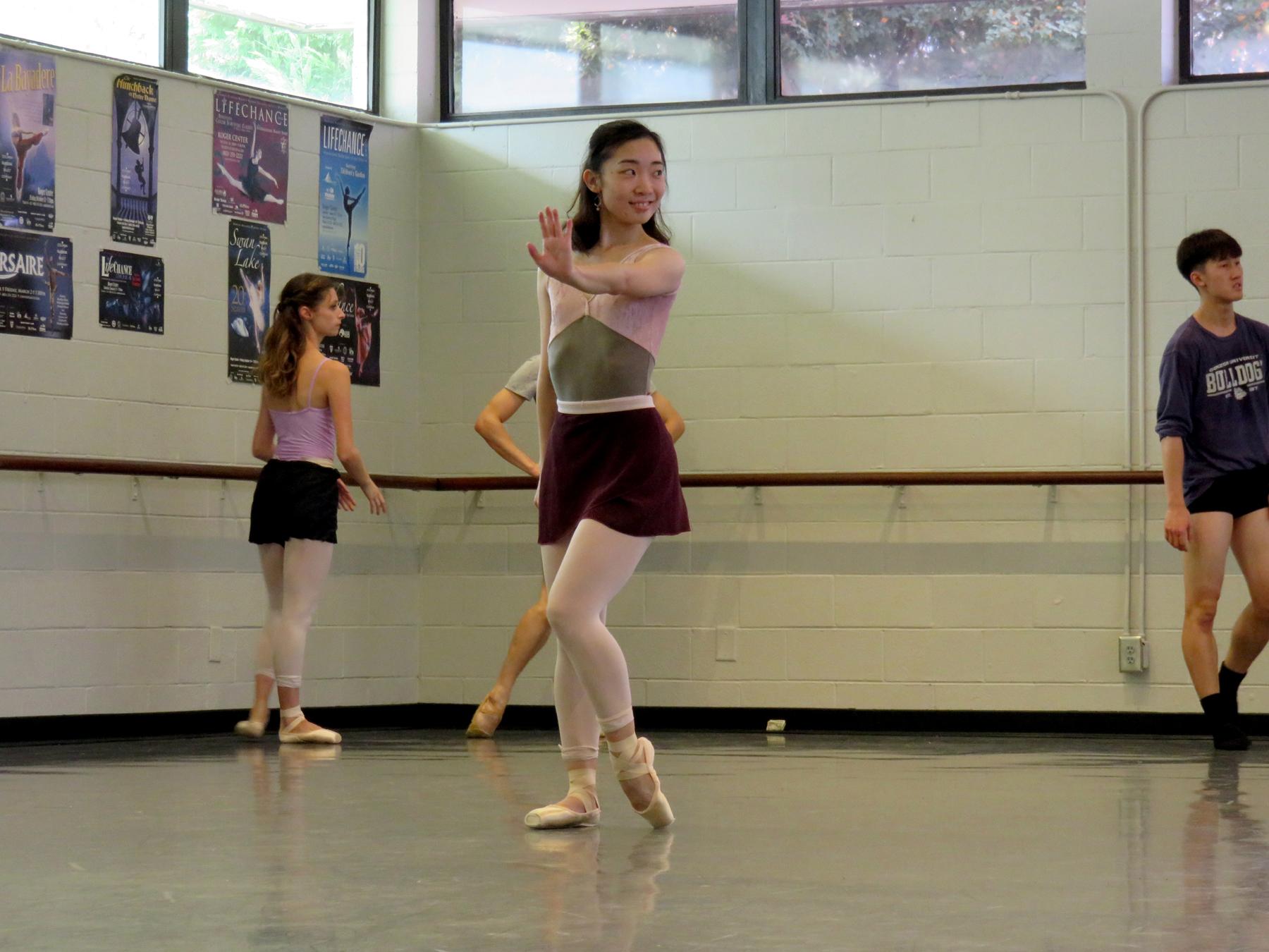 Nao Omoya rehearsing a solo role in  Imagine: Ballet Rocks