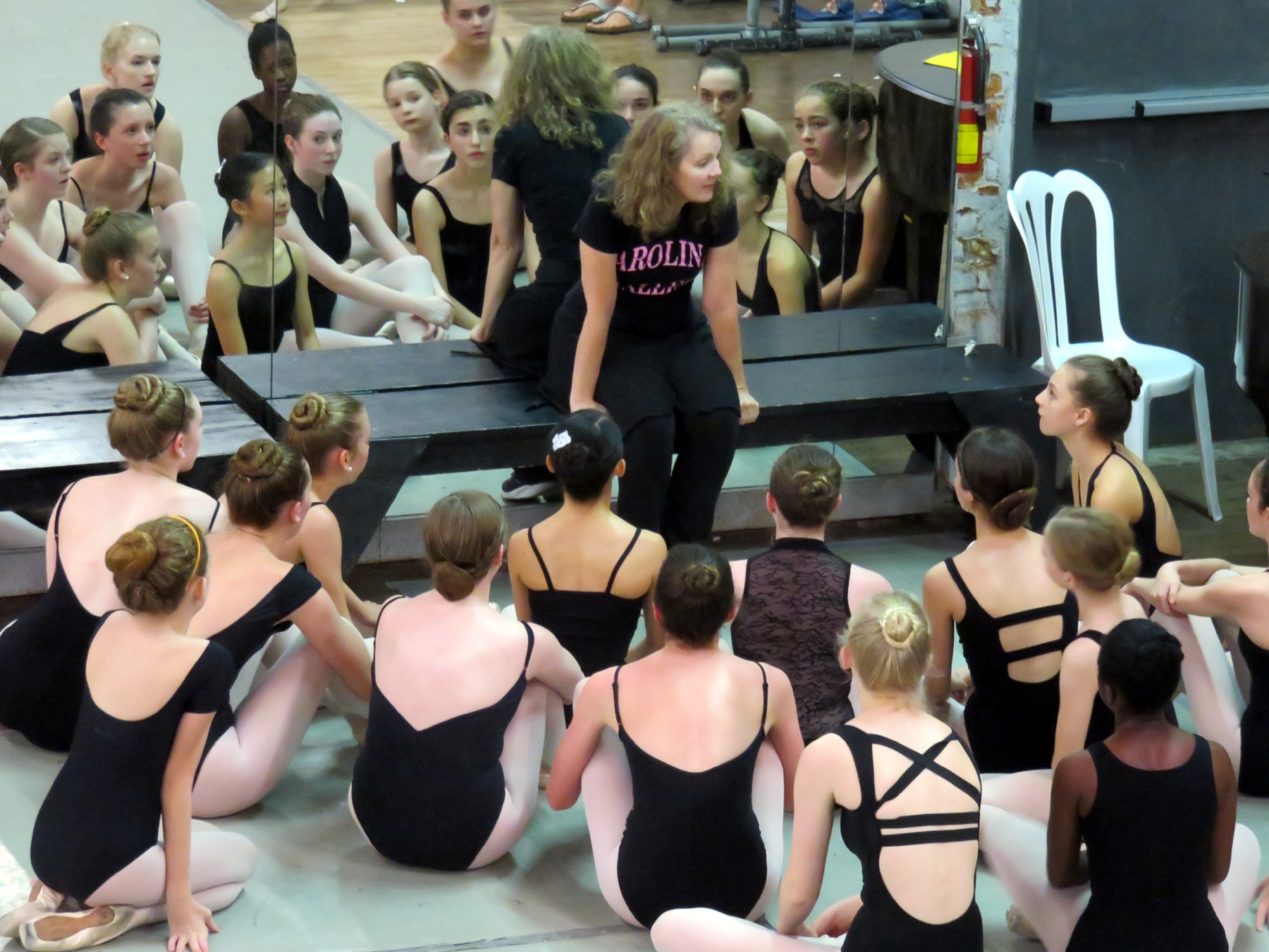 Carolina Ballet's co-artistic director Mimi Worrell giving notes after rehearsing the snow scene from  The Nutcracker