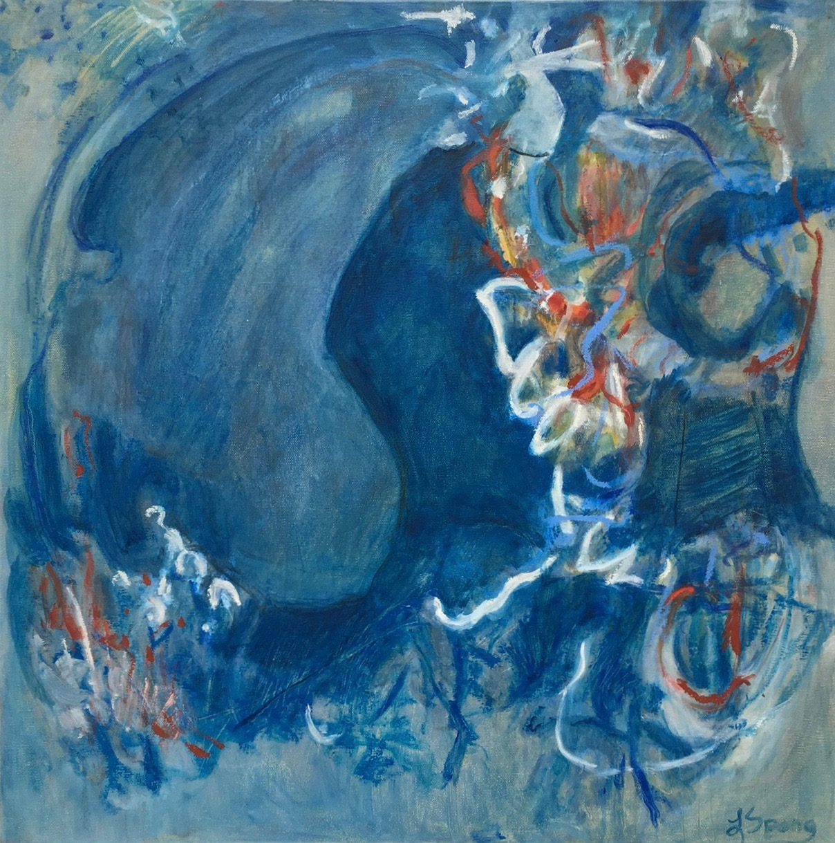Laura Spong, Time Is Taking Its Time , 2008-17, oil on canvas, 24 x 24 in. (if ART Gallery)