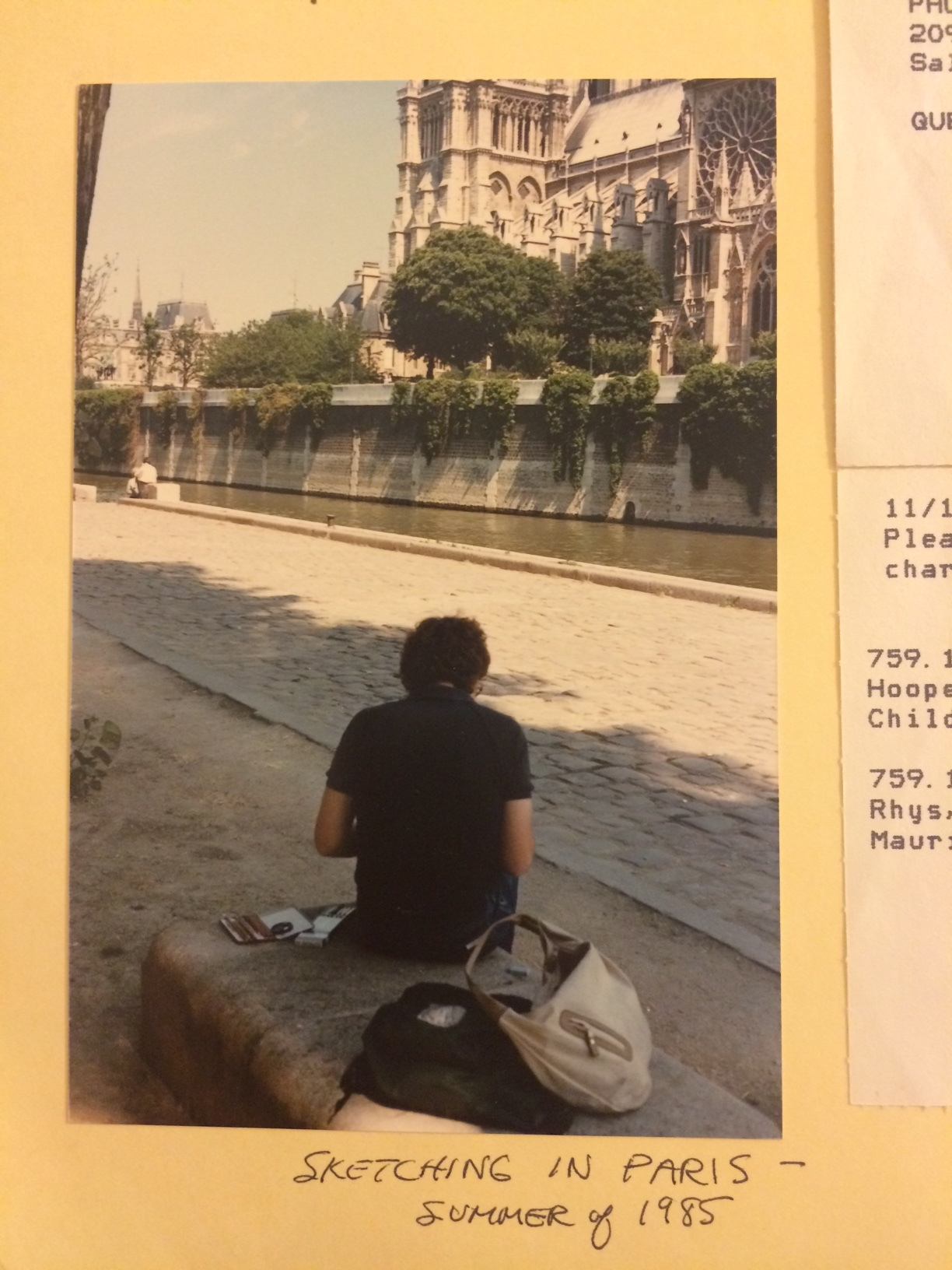 The young artist Will South on the bank of the Seine