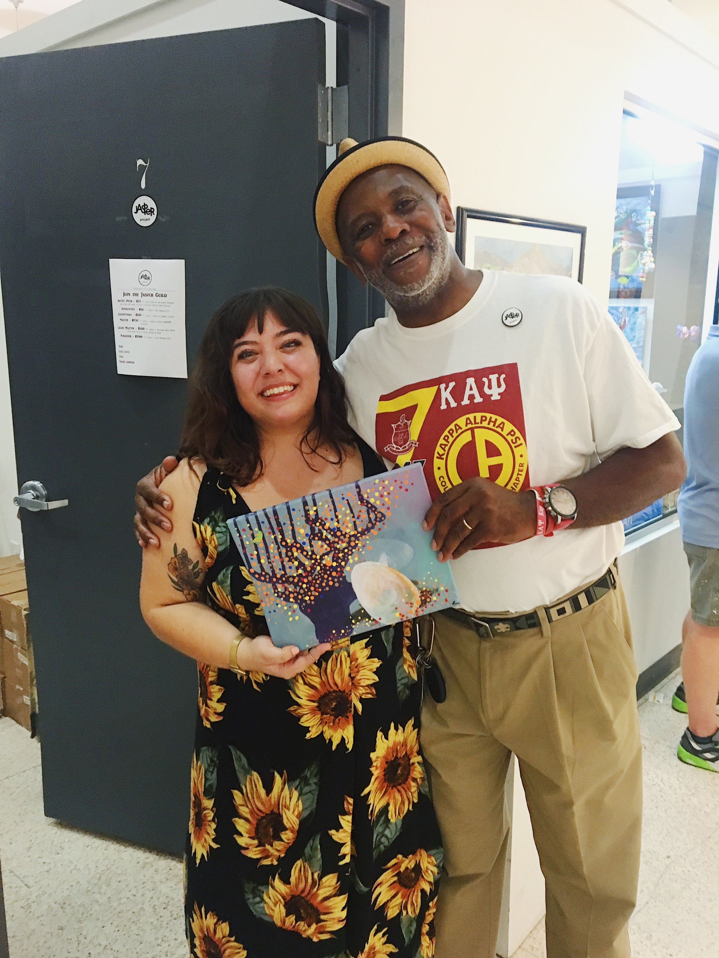 Xan with visual artist Keith Tolen at the Tiny Gallery series