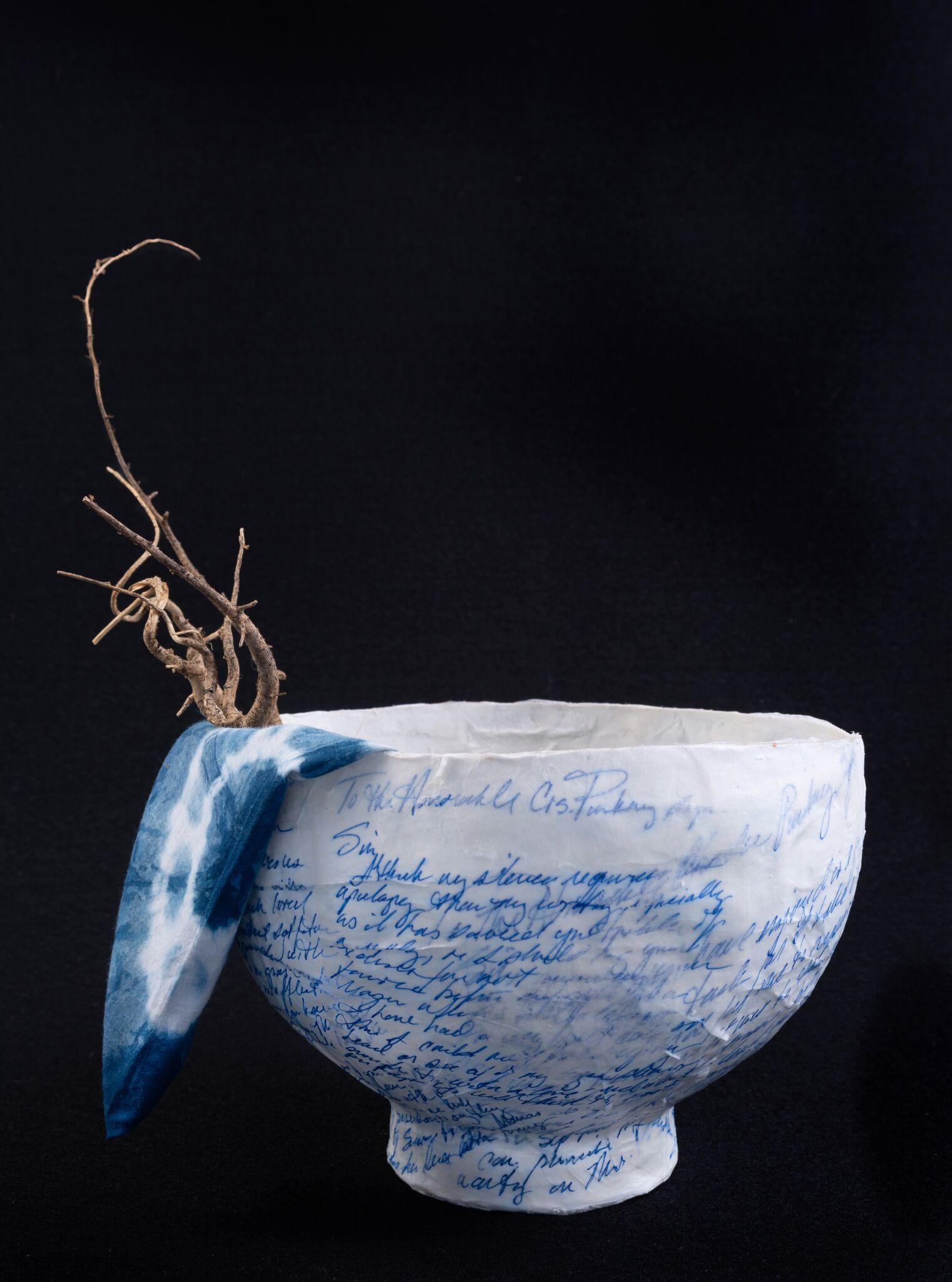 Paper Mache Bowl with Indigo Ink, hand-dyed indigo napkin, and indigo branch flatware by Laurie Brownell McIntosh