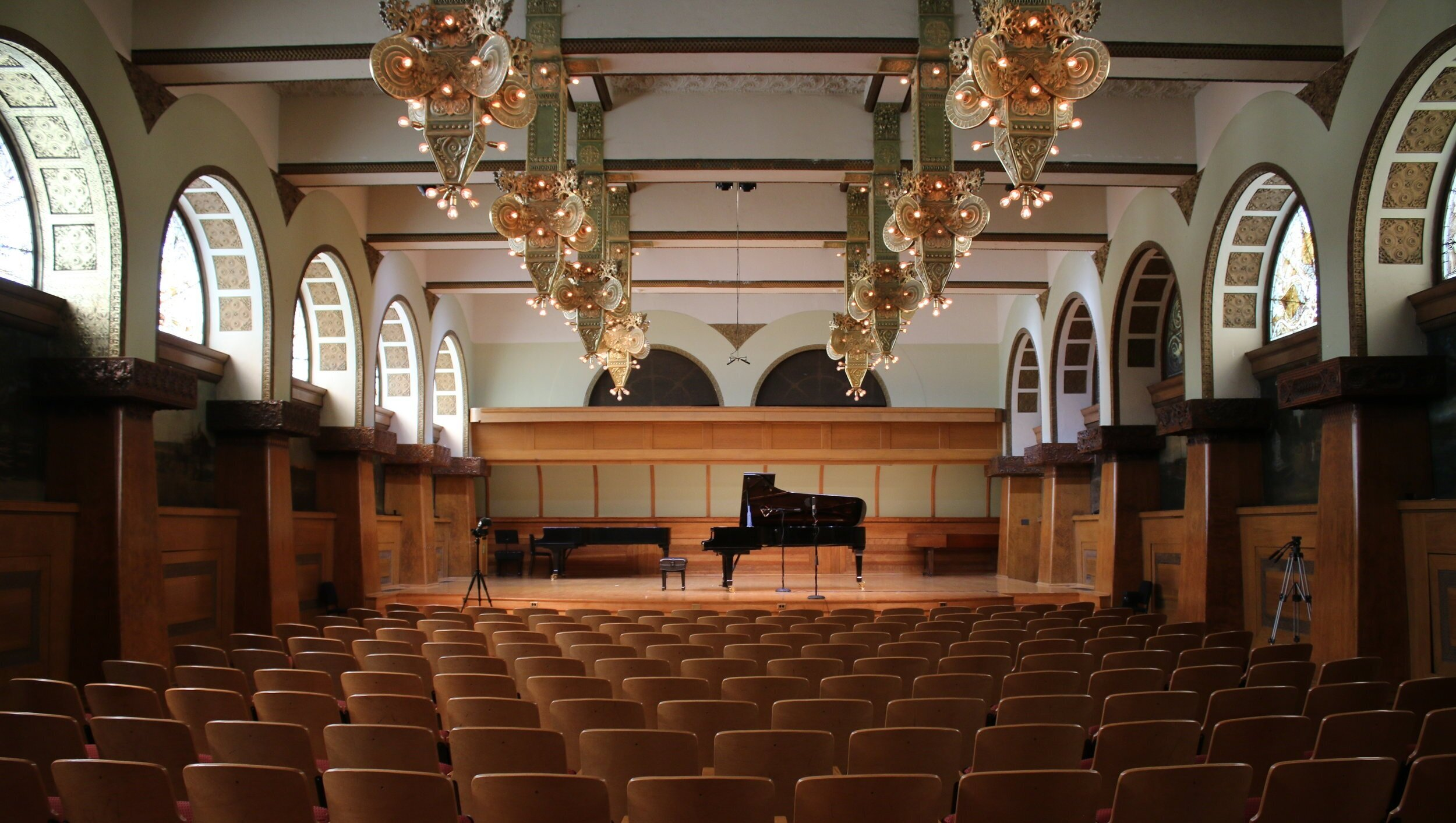 Ganz Hall at Roosevelt University . Ganz is available to reserve for recordings through Roosevelt staff pianists.
