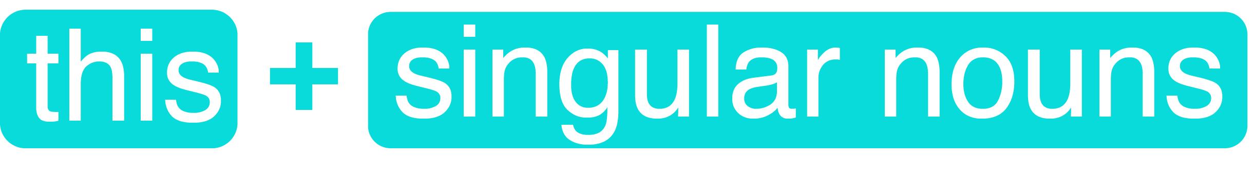 this singular