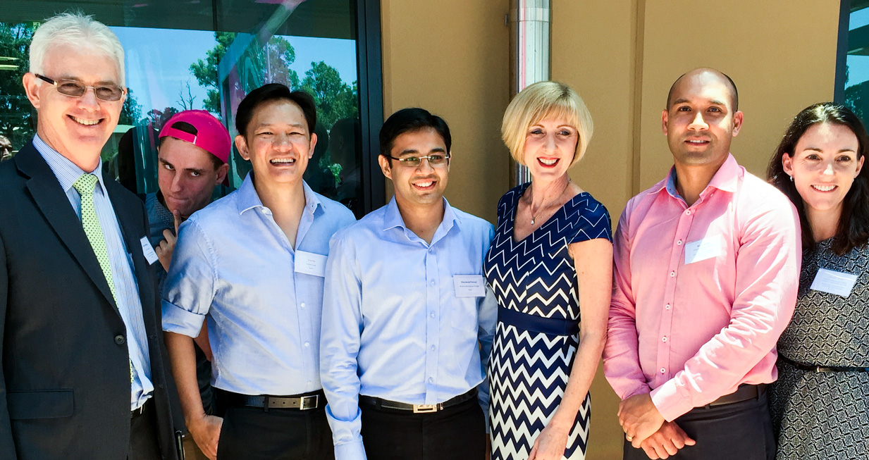 Left to Right:  Michael Hogan (Director General),  photo-bombing young person , Ton Ha (Creative Lead, Klyp), Dharmesh Porwal (Business Development Manager, Klyp), Tracy Davis (Minister for Communities, Child Safety and Disability Services), Brian Atkin (Program Manager, Mobility Projects), Connie Dods (Director, Program and Project Delivery, Information Services)