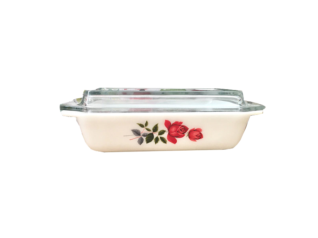 Pyrex June Rose Space Saver Casserole Dish