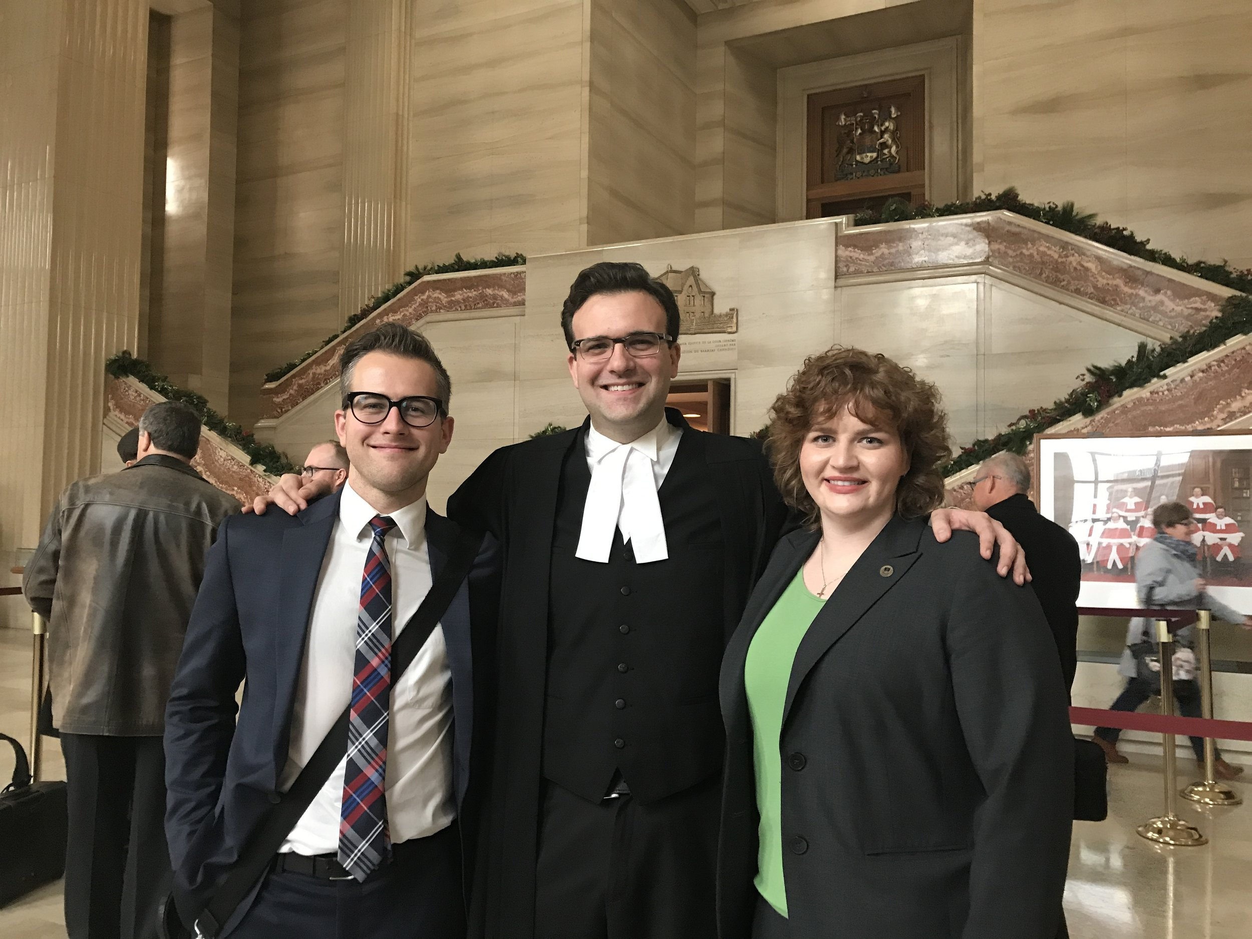 From L to R:  Brayden Volkenant  (applicant student in TWU litigation),  Derek Ross  (counsel for CLF) and  Jessie Legaree  (TWU graduate and former student representative on the CLF Board of Directors)