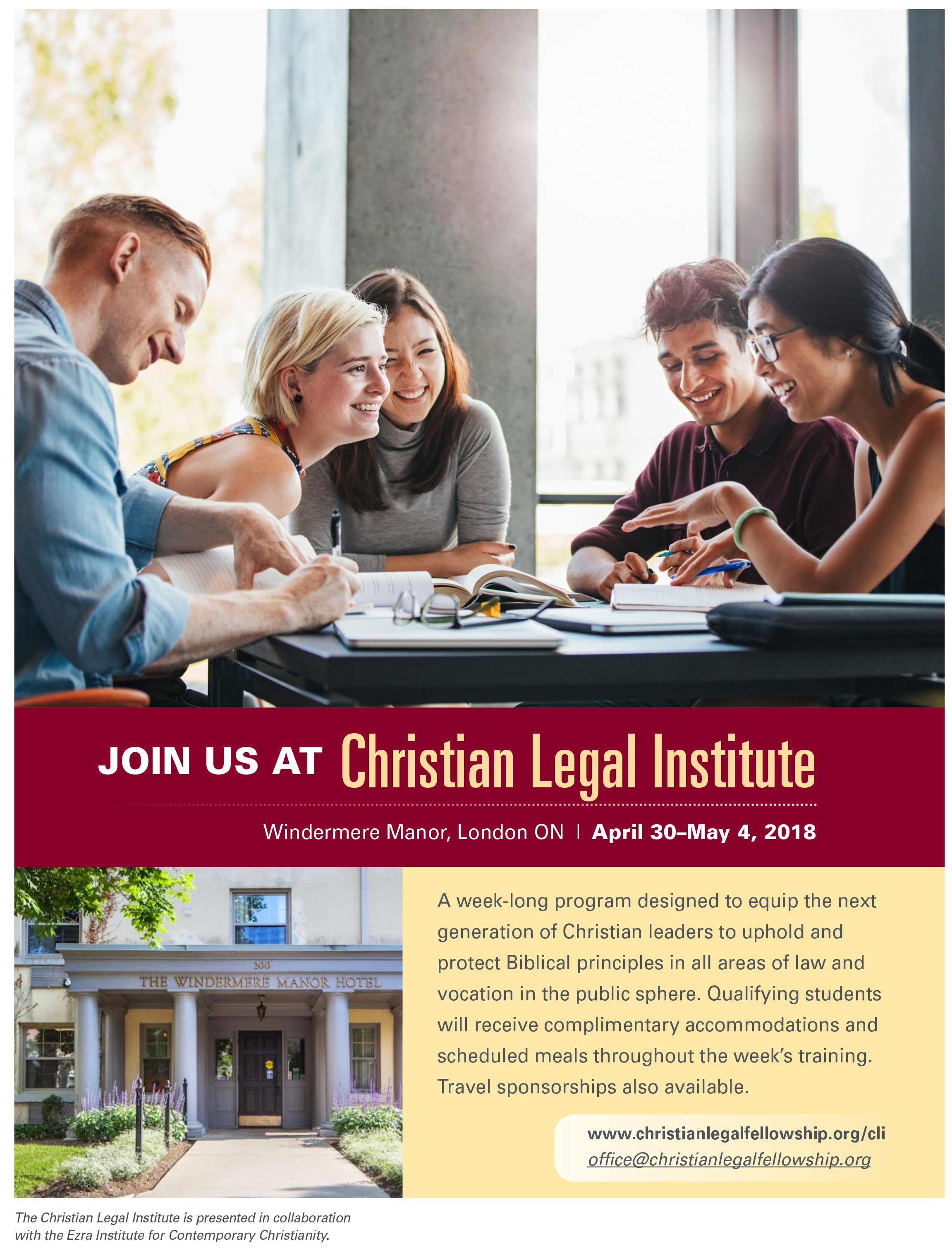 Apply  to attend the upcoming week-long 2018 Christian Legal Institute in London, ON (April 30-May 4, 2018).