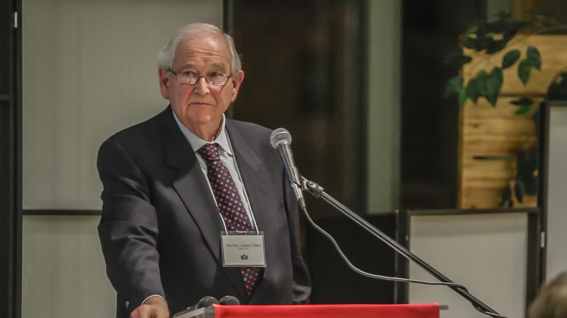 The Honourable Clifton D. O'Brien, Q.C., the keynote speaker at the Celebration Banquet.