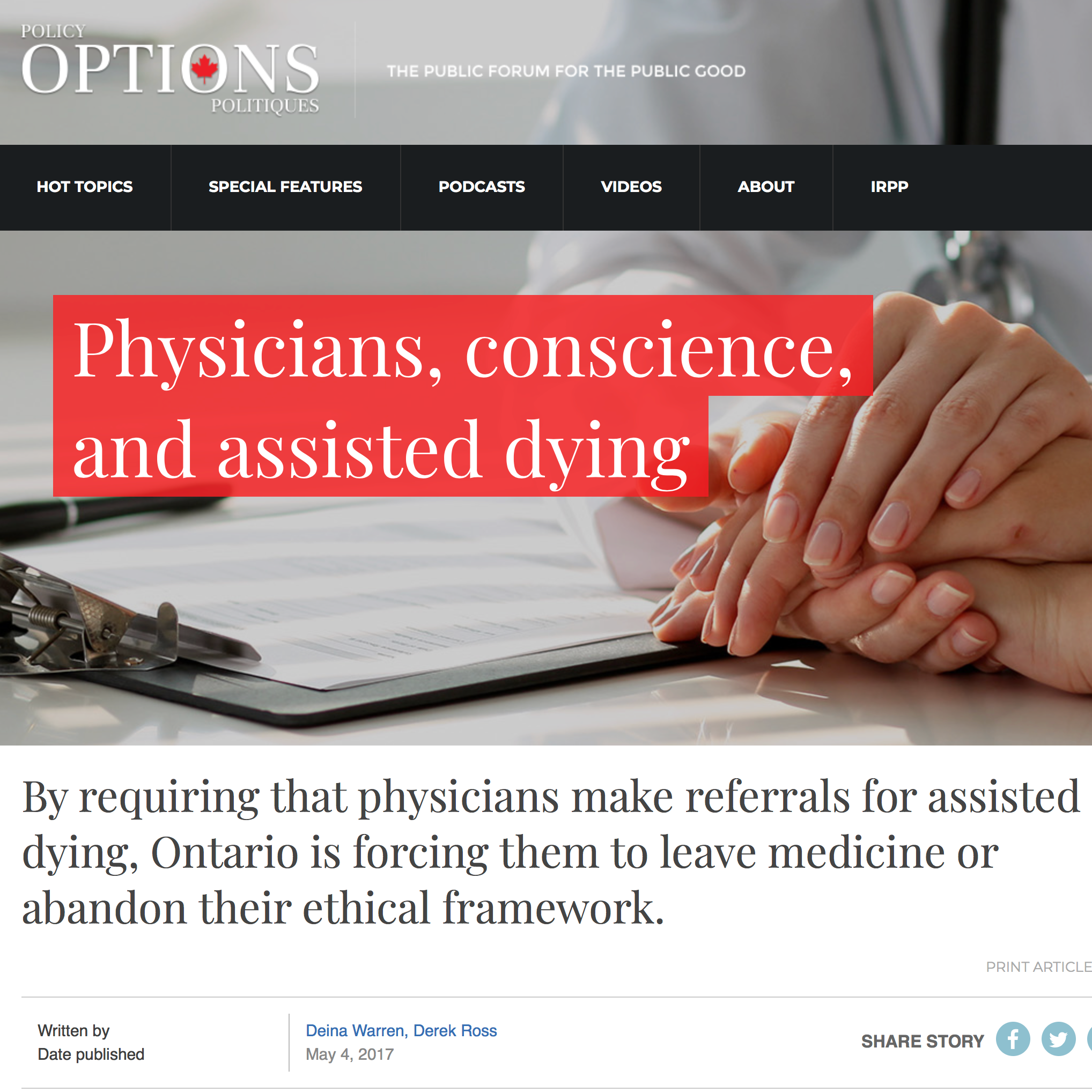 Policy Options:Physicians, conscience, and assisted dying - Deina Warren & Derek Ross