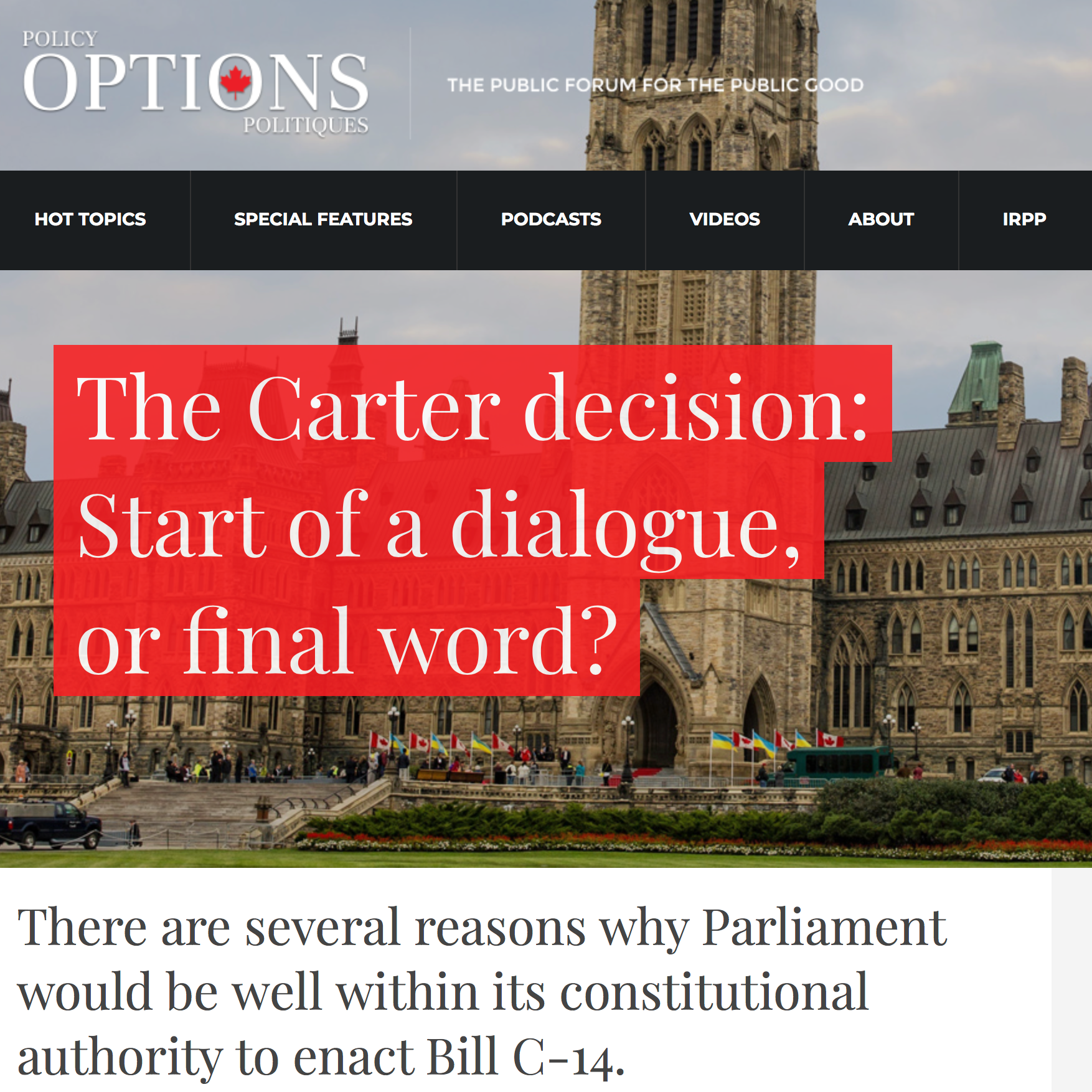 Policy Options:The Carter decision: Start of a dialogue, or final word? - John Sikkema