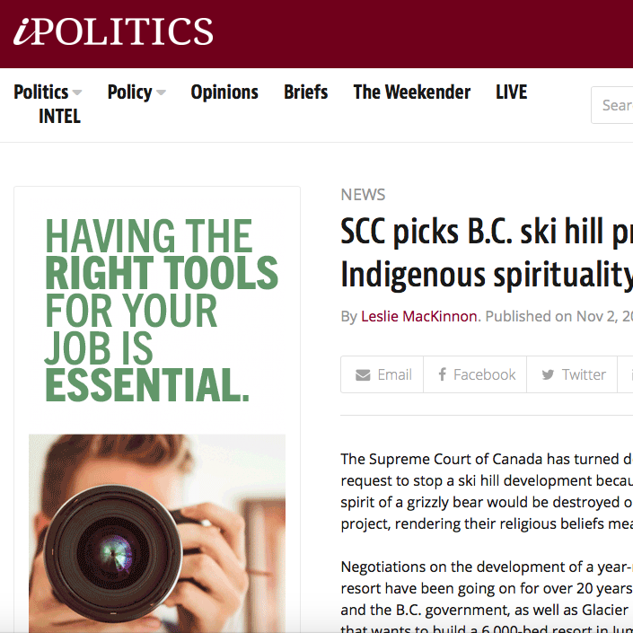 IPolitics: - SCC picks B.C. ski hill project over Indigenous spirituality