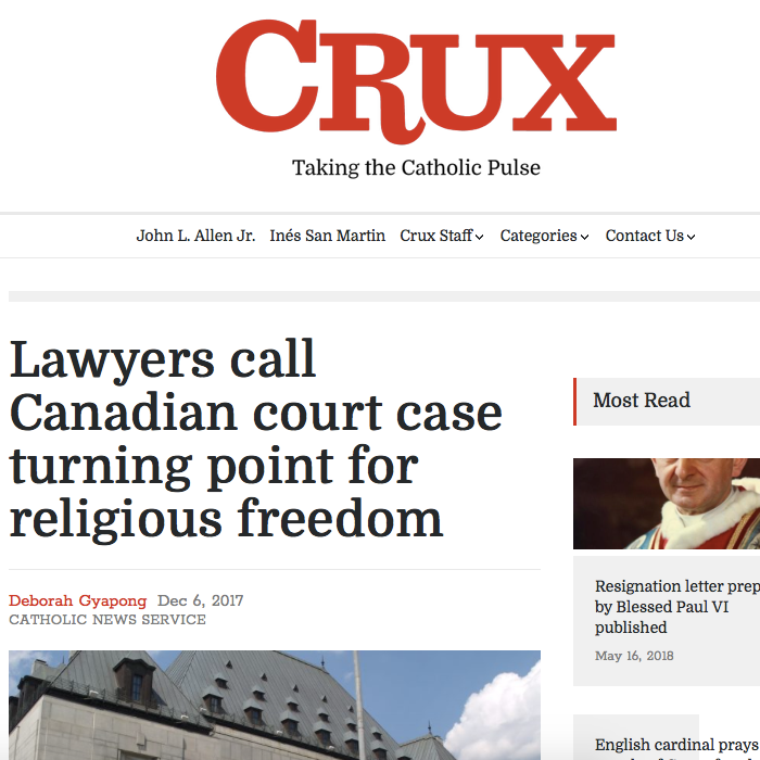 Crux: - Lawyers call Canadian court case turning point for religious freedom