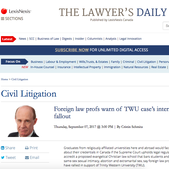 The Lawyer's Daily: - Foreign law profs warn of TWU case's international fallout