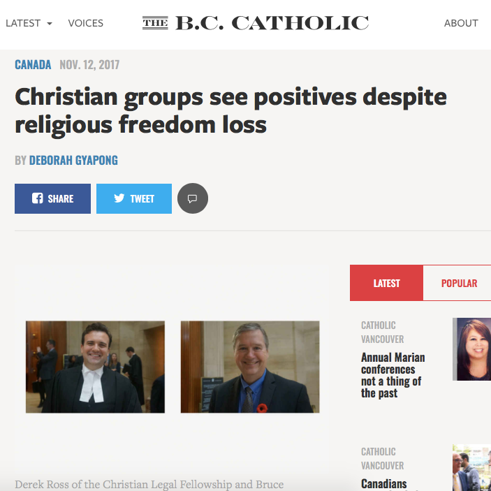 The B.C. Catholic: - Christian groups see positives despite religious freedom loss