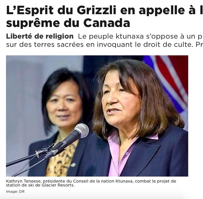 24 heures: - L'Esprit du Grizzli en appelle à la Cour suprême du Canada